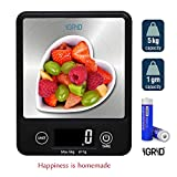 iGRiD Multifunctional Small Kitchen Digital Food Weighing Scale with Stainless Steel Platform (5Kg)