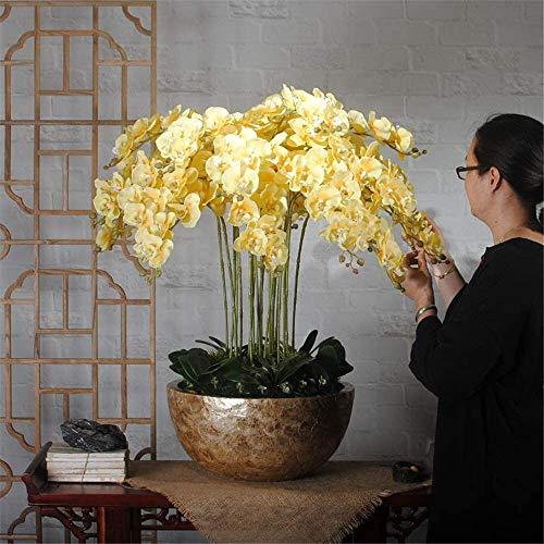 Artificial Flores de la orquídea - Phalaenopsis artificial extra grande con olla de cerámica para la empresa hotelera tabla de la oficina de la decoración del partido del hogar,Amarillo,XL
