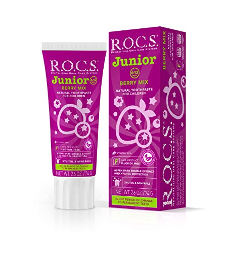 R.O.C.S. Junior Berry Mix Toothpaste - Enamel Instant Whitening Teeth Gum Protection | Best for Children 6-12 Years Old - Delicious Flavors, Safe for Kids Swallow - Natural No Fluoride or Sulfate