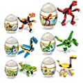 HOCHE 6 Pack Dinosaur Building Blocks Toys in Easter Eggs Good Gift for Kids