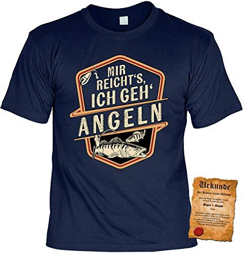Angler Sprüche T-Shirt - Bekleidung Angler - Geschenk-Shirt Angler-Motiv : Mir reicht s Ich GEH Angeln - Anglershirt Angelsport Hobby-Angeln Gr: L