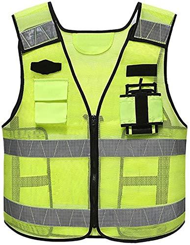 Chaleco reflexivo de alta visibilidad con tiras reflectantes de la policía de la policía de tráfico, la utilidad de servicio pesado con los bolsillos múltiples -zipper- ( Color : 2 Pack , Size : XXL )