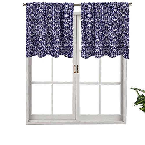 Hiiiman Cenefa moderna para ventana, arreglo floral con curvas de remolino, azulejo monocromático, juego de 1, 91,4 x 45,7 cm, paneles opacos decorativos para el hogar para sala de estar
