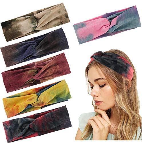 Yeshan Tie Dye Knotted Headbands for Women with Vintage Sport Athletic Travel Criss Cross Cute Turban Twist Headbands Head WrapsPack of 6