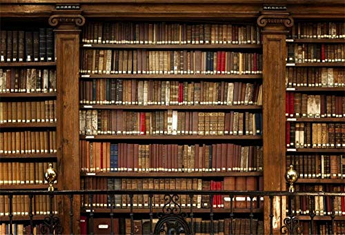 Canessioa 10x6.5ft Vintage Style Wooden Bookshelf Background Photography Backdrop Library Scene Bookcase Magic Books Wide Variety of Books Adult Student Scholar Portrait Photshoot Studio Props