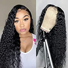Water Wave Lace Front Wigs Human Hair Pre Plucked 180% Density Brazilian 4x4 Lace Human Hair Wigs for Black Women(12 Inch, Water wave wig)
