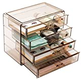 Sorbus Acrylic Cosmetics Makeup and Jewelry Storage Case Display– 4 Large Drawers Space- Saving, Stylish Acrylic Bathroom Case Great for Lipstick, Nail Polish, Brushes, Jewelry and More (Bronze Glow)