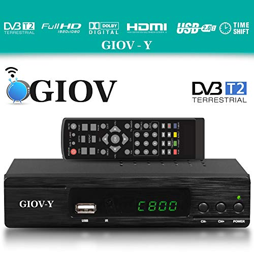 Giov Y DVB-T2 Ricevitore - HEVC/H.265 - H.264 / MPEG2 - MPEG4 / 1080i - 1080p Standard (Full HD 1080P, HDMI, SCART, USB 2.0) - Integrazione automatica