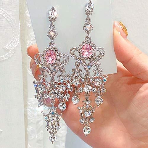 xingguang Pendiente nuevo vintage rojo corazón cristal colgante pendientes para las mujeres elegante rhinestone borla fiesta joyería