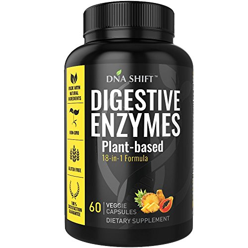 Digestive Enzymes 18-in-1 Natural proteolytic Enzyme Supplements with protease amylase & lipase - Gluten and Lactose Digestion - Best for Bloating Constipation Gas Relief   Essential Papaya