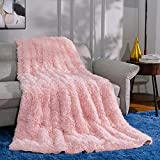 Ompaa Faux Fur Adults Weighted Blanket 15lbs for Twin/Full Size Bed 48' x 72' Pink, Fuzzy Plush Sherpa Heavy Blankets