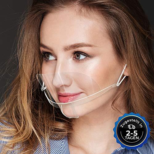 10x Gesichtsschild Face Shield Mini Schutzvisier Mundschutz Schutzschild klein transparent Gesichtsvisier Halbvisier Mund Nasen Schutz DIWA
