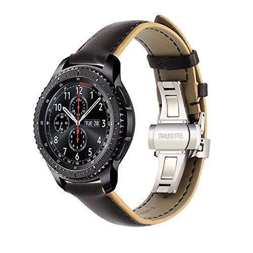 TRUMiRR pour la Bande de Montre Samsung Gear S3 Frontier/Classic, 22mm Double Couleur Bracelet en Cuir véritable Bande de Poignet à Boucle Buttterfly pour Moto 360 2 46mm Men, LG G Watch Urbane