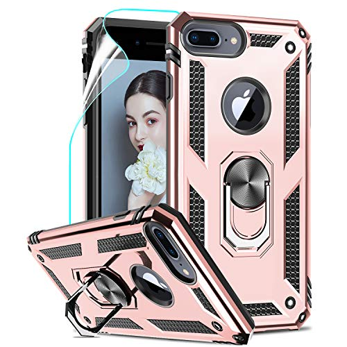LeYi Custodia iPhone 7 Plus/8 Plus,iPhone 6s Plus/6 Plus Cover, 360° Girevole Regolabile Ring Armor Bumper TPU Case Silicone Custodie con HD Pellicola Per Apple iPhone 6/6s/7/8 Plus Case Rose Gold