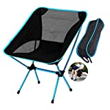 Outdoor Folding Chairs,Camping Chair Ultralight Hiking Portable Compact Backpacking Chair Folding Chairs with Lightweight Carry Bag (Sky Blue)