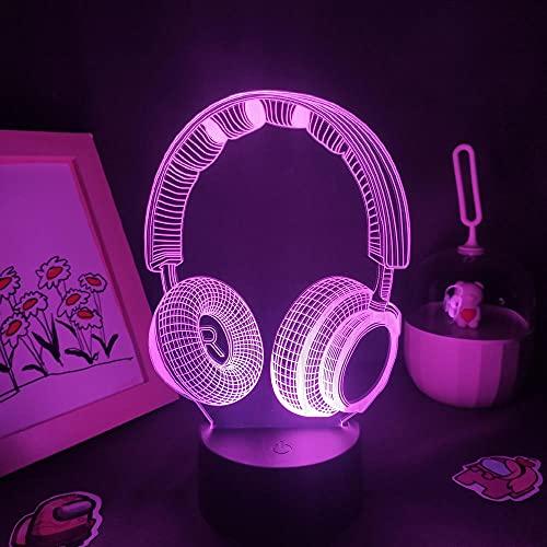 Lámpara de ilusión 3D LED Luz de noche Auriculares Auriculares Lámparas Rgb Acrílico Neon Night Pill Regalo colorido para la habitación de un amigo Decoración de la mesita de noche
