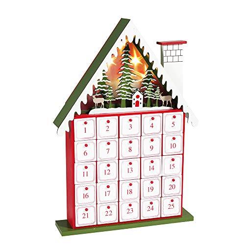 Kurt S. Adler Kurt Adler 15.5-Inch Battery-Operated Light-Up House Advent Calendar, Multi