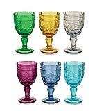 Villa d'Este Home Tivoli Syrah Set 6 Calici da Vino, Vetro, Colori Assortiti