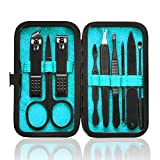 Manicure Set 9 in 1 Stainless Steel, Nail Clippers Scissors Pedicure Tools Kit - Portable Travel Grooming Kit for Men and Women with Black/Blue Leather Case (Blue)