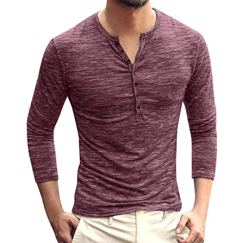 Men Casual Vintage Long Sleeve Button Up V-Neck T-Shirt Henley Tops