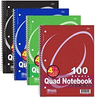 4Pk, Bazic Quad-Ruled Spiral Notebook 100 Count, (10 1/2 inches x 8 inches)