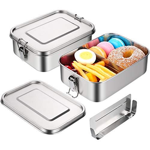 JIM'S STORE Boîte Bento INOX Lunch Box INOX Anti Fuite avec Compartiment Amovible 1200ML Boîte Lunch Box à Déjeuner Femme Homme avec Clip de Verrouillage pour Pique-Nique Ecole Travail