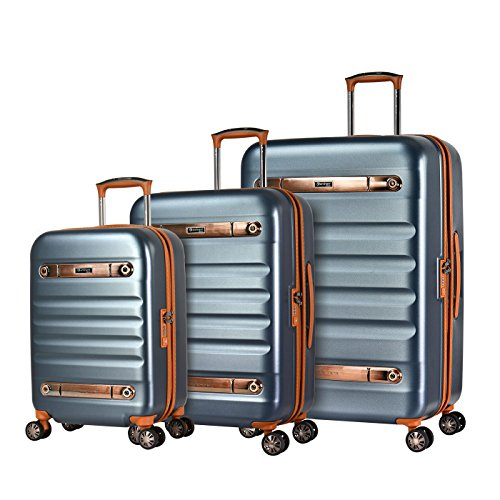 Eminent Luggage Set Gold Nostalgia 3 pcs Polycarbonate Hard Shell 4 Silent Dual Wheels TSA Lock Graphite