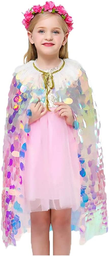 Gym Compression&Tights Girls Bling Bling Cape Lovely Sweet Mermaid Princess Mermaid Sequin Cape