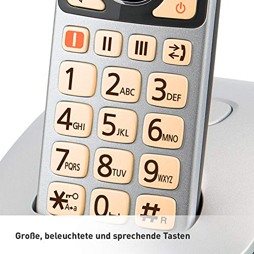 Panasonic KX-TGE522GS DECT Seniorentelefon mit Notruf, Silber-schwarz & KX-TGE510GS DECT Seniorentelefon mit Notruf (Großtastentelefon, schnurlos, extra Lautstärke) Silber-schwarz