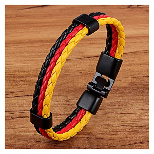 JINGGEGE Representative Meaning National Flag Design Pattern PU Leather Men Stainless Steel Bracelet Colorful Selection For (Metal Color : Germany)