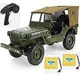 MODELTRONIC Jeep Militar Willy Jedi Todo Terreno 4x4 Marca JJRC Q65 Escala 1:10 Rock Crawler 2.4Ghz con Lona y batería Extra / Incluye 2 baterias Coche / Luces LED y diferenciales / Verde