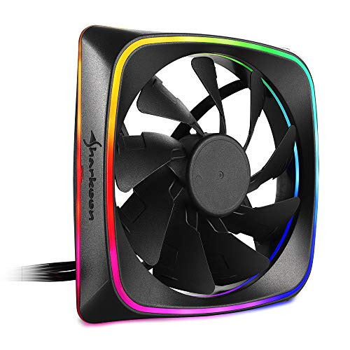 Sharkoon RGB Shark Lights Ventilador Caja Fan 120MM RGB LED, Color Negro