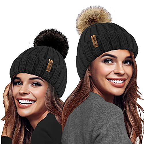 TOSKATOK® Dames Filles Chunky 3 en 1 Rib Beanie Hat avec 2 Interchangeable Grande Fourrure Faux Pompons