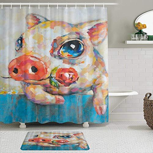 ShopHM Duschvorhang Sets mit rutschfesten Teppichen,Bleib ruhig & Liebe Schweine Spa, Badematte + Duschvorhang mit 12 Haken