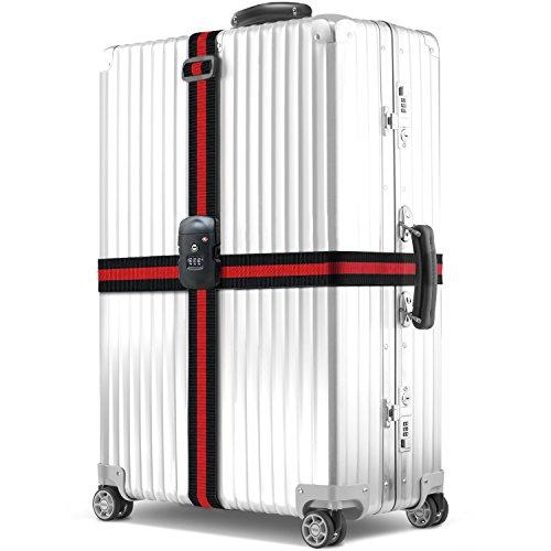 BEZ Correa para equipaje, Correa de Embalaje TSA Ajustable Maleta de Viaje Larga Correas con 3 Dial TSA Cerradura Aprobada para la Seguridad del Equipaje - Negro y Rojo