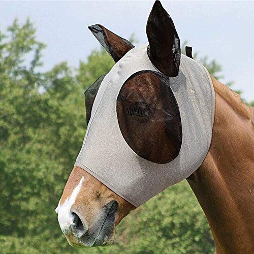 Honeyy Fliegenmaske für Pferde, leicht und federnd, Chinlon-Netz, mit Augen und Ohren, verhindert Fliegen und Insektenstiche grau