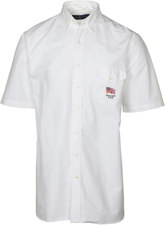 Polo RL Men's Big and Tall U.S.A. Woven Short Sleeve Pocket Shirt