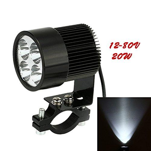 KKmoon lampada per faro per moto, faro con lampada LED 12 V-80 V 20 W, colore nero, universale per moto E-Bike