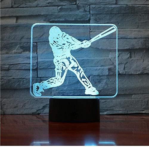 3D Led Nachtlicht Usb Baseball Spieler Actionfigur Kinder Kinder Geschenk Baby Nachtlicht Sport Schreibtisch Lampe Nachttisch