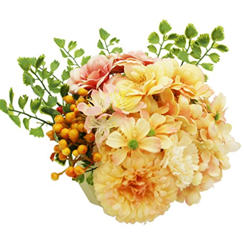 Lumiphire Artificial Flower Arrangement in Pot Home Decor Accessories Living Room Table Centrepiece Ornaments Mother's Day Thank You Birthday Presents Gifts for Mum Camelia Hydrangea 15cm Yellow