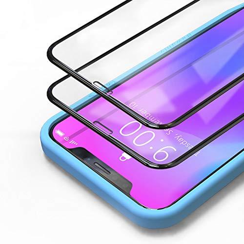 Bewahly Cristal Templado para iPhone 11 / XR [2 Piezas], 3D Completa Cobertura Protector Pantalla con Marco de Instalación Fácil, 9H Dureza Alta Definicion Vidrio Templado para iPhone 11 / XR (Negro)