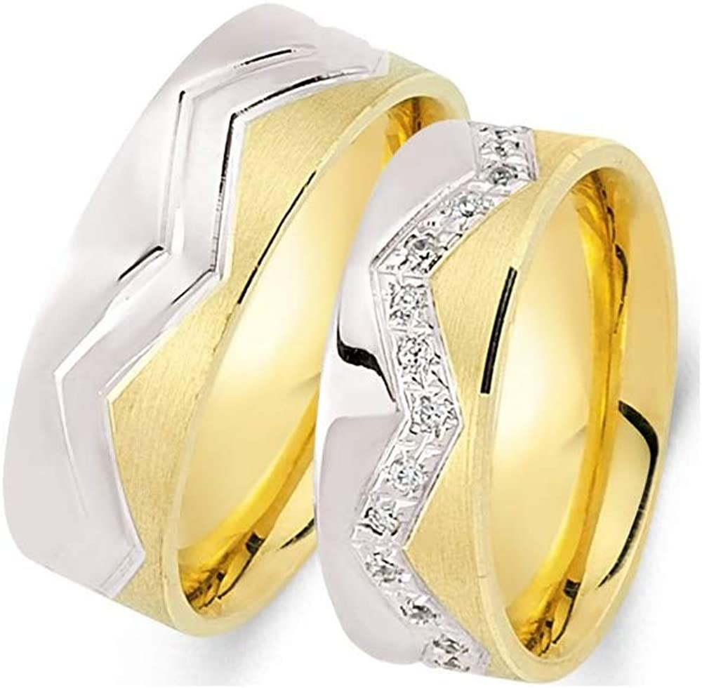 Mail order Anelise 14K Real Solid Yellow White Fine 1055 Today's only Gold Wedding Band