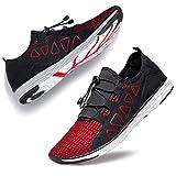 YHOON Men's Beach Water Shoes - Quick Drying Aqua Shoes Red 10