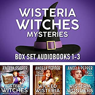 Wisteria Witches Mysteries: Box Set, Books 1-3                   By:                                                                                                                                 Angela Pepper                               Narrated by:                                                                                                                                 Tiffany Williams                      Length: 24 hrs and 2 mins     18 ratings     Overall 4.7