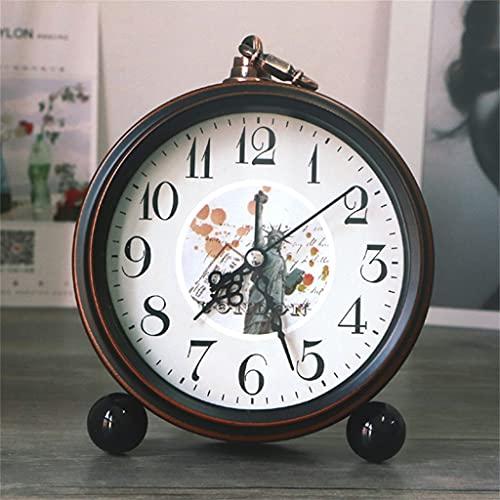 KLHDGFD Lente de Cristal de Cuarzo Decorativa Números Romanos Escritorio de Estilo Europeo Redondo Moderno Reloj Despertador de Oficina silencioso Estampado de Flores Retro