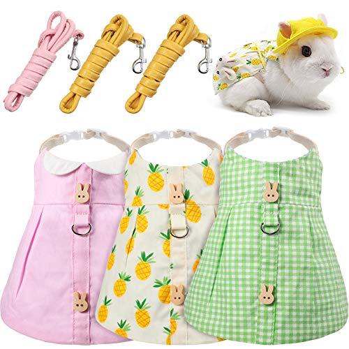 Geyoga 3 Pieces Pet Rabbit Dress, Breathable Small Animal Harness Vest and Leash Set Escape Proof Cute Small Animals Bunny Harness and Leash Pet Costume for Rabbit Hedgehog Ferret Piggies Squirrel