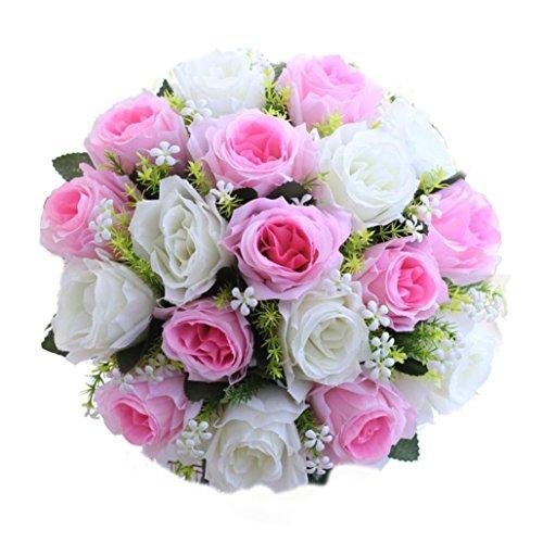 Coloré(TM) Roses de cristal 18Head Artificielle Soie Roses Fleurs Bouquet De Mariée Rose Maison De Mariage Décor (G)