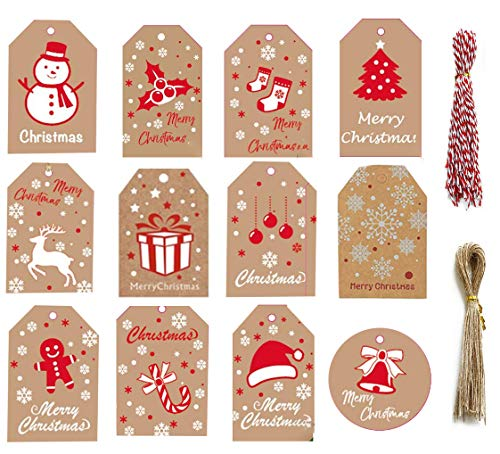 EUYuan 120 etiquetas navideñas de papel kraft para regalo.
