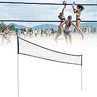 ビーチバレーネットは、ポータブルバレーボールネットコンプリートセット、プロフェッショナルバレーボールネットの高さ調節、テニス、バレーボール、アウトドアビーチ、草ラック,ブルー,Upgrade