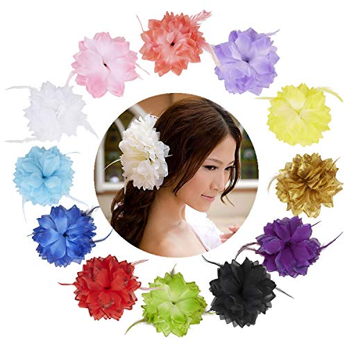 12 Pack Colorful Sequin Glitter Sparkly Large Chiffon Flower Feather Hairbow Hair Ties Hairbands Elastics Rubber Headbands Brooch Pins Hair Clips Barrettes Corsage Pin Bracelet Wristband for Women